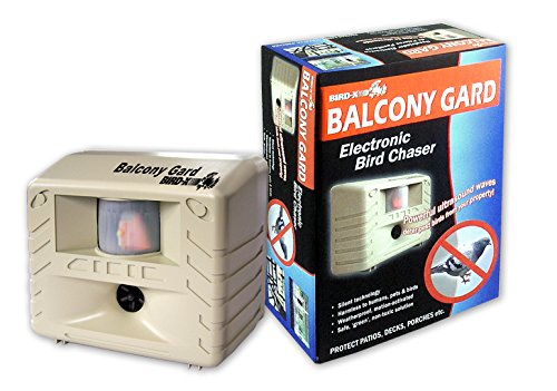 Bird-X Balcony Gard Ultrasonic Bird Repeller keeps birds away from small areas like balconies, decks and small yards with silent-to-humans, ultrasonic sounds and vibrations (Bird Repeller)