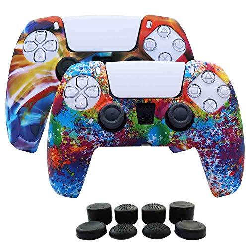 2 fundas + 8 grips para control playstation 5 Rainbow