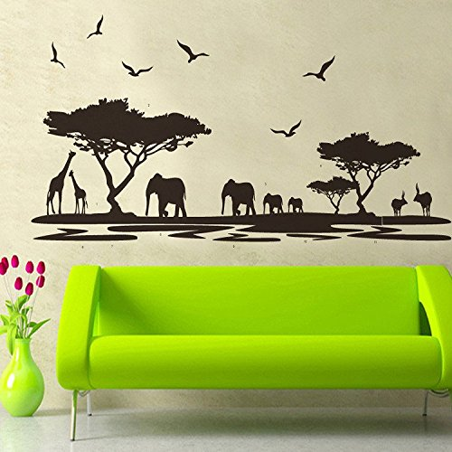 E-Love Wall Decal Mural Black Tree Animals Elephants Giraffes Removable Wall Stickers for Children Bedroom Living Room Wall - Manchester Designer Stores