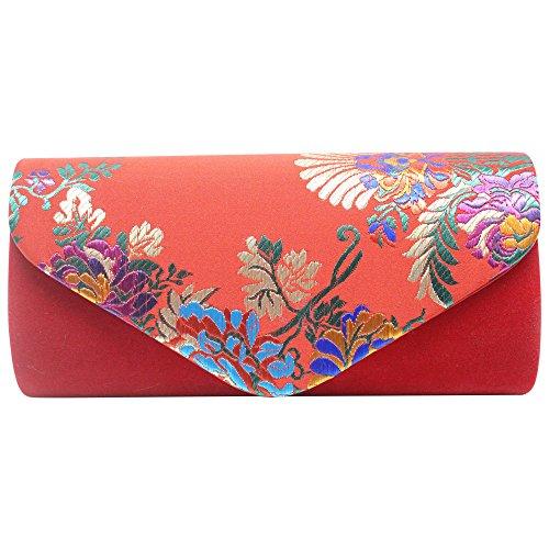 Wiwsi Women's Elegant Floral Print Wallet Long Purse Fashion Evening Clutch Bag(Royal Blue) Red