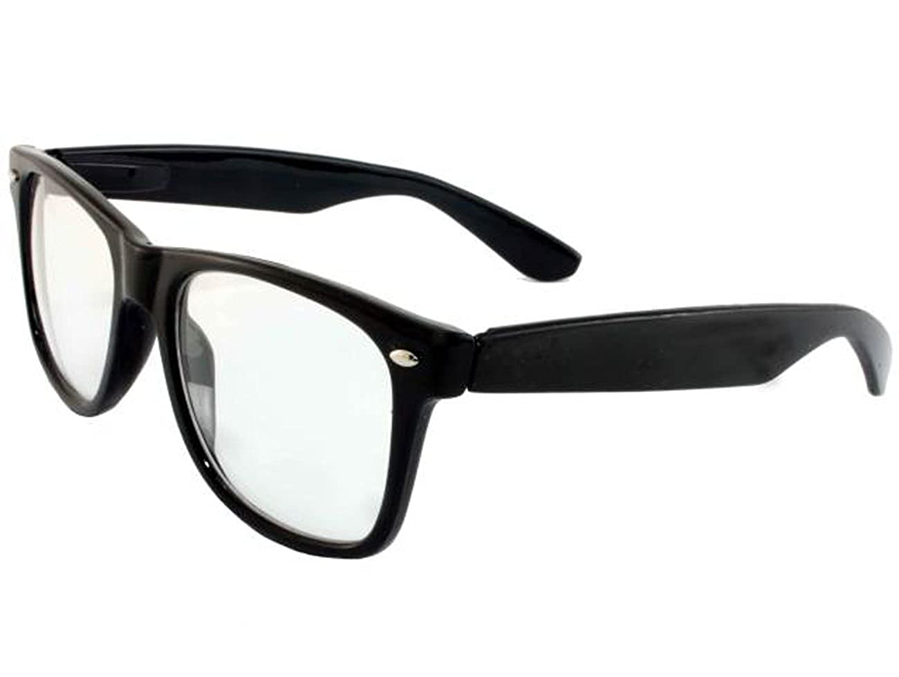 2c969c23e4 Retro Horned Rim Retro Classic Nerd Glasses Clear Lens Clear) MJ-8841C-black