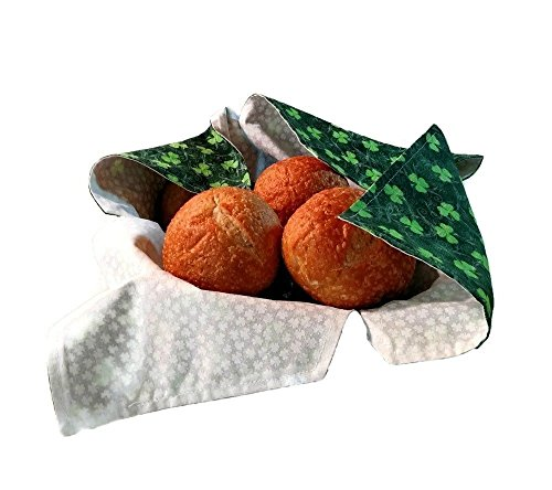 Bread Basket Liner and Warmer for Bread or Hot Rolls in Deep Green and White