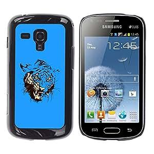 """For Samsung Galaxy S Duos S7562 , S-type Azul feroz ataque del tigre"""" - Arte & diseño plástico duro Fundas Cover Cubre Hard Case Cover"""
