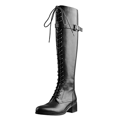 Details about  /Fashion WOmens Zipper Mid Block Heel Knee High Boots Casual Riding party Shoes