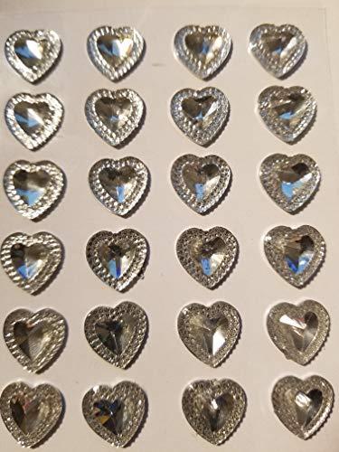 CraftbuddyUS CB68CL- 24 Pointed Self Adhesive CLEAR Diamante Rhinestone HEART Stick on Gems