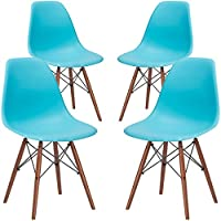Poly and Bark Vortex Side Chair Walnut Legs in Aqua (Set of 4)