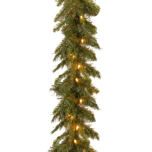National Tree 9 Foot by 10 Inch Tiffany Fir Garland with 50 Clear Lights -