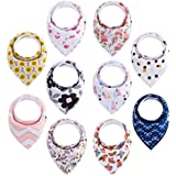 Baby Bandana Drool Bibs for Girls,Floral 10-Pack with...