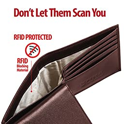 Men's High Quality 100% Genuine Leather Bifold Wallet - Anti Scan Identity Protection RFID Blocking Security - High Capacity - luxury & Lasting – Wallets For Men by Pessal / Brown