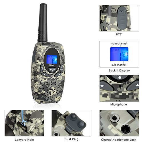2 Way Radios Camping Accessories, Topsung M880 FRS Walkie Talkie for Adults Long Range with Mic LCD Screen / Portable Wakie-Talkie with 22 Channel for Children Hiking Hunting Fishing (Camo 2 Pack) by Topsung (Image #4)