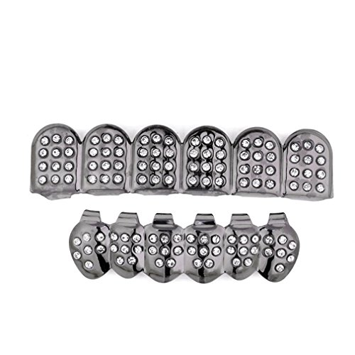 Grillz Set Fang (Vibola Grillz Teeth Set by New Custom Fit Top & Bottom Plated Removable Hip Hop Teeth Caps (Black))