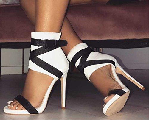 Epissure YOGLY Sexy Hauts Couleur Ouvert Bout Soiree à Club Talons Sandale Blanc Boucle Bandage Été Femme Chaussures Escarpins rq1vr8