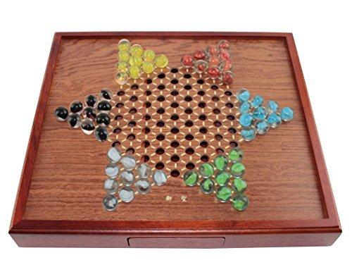 木製Chinese Checkers Game Set Drawers and marbles-正方形