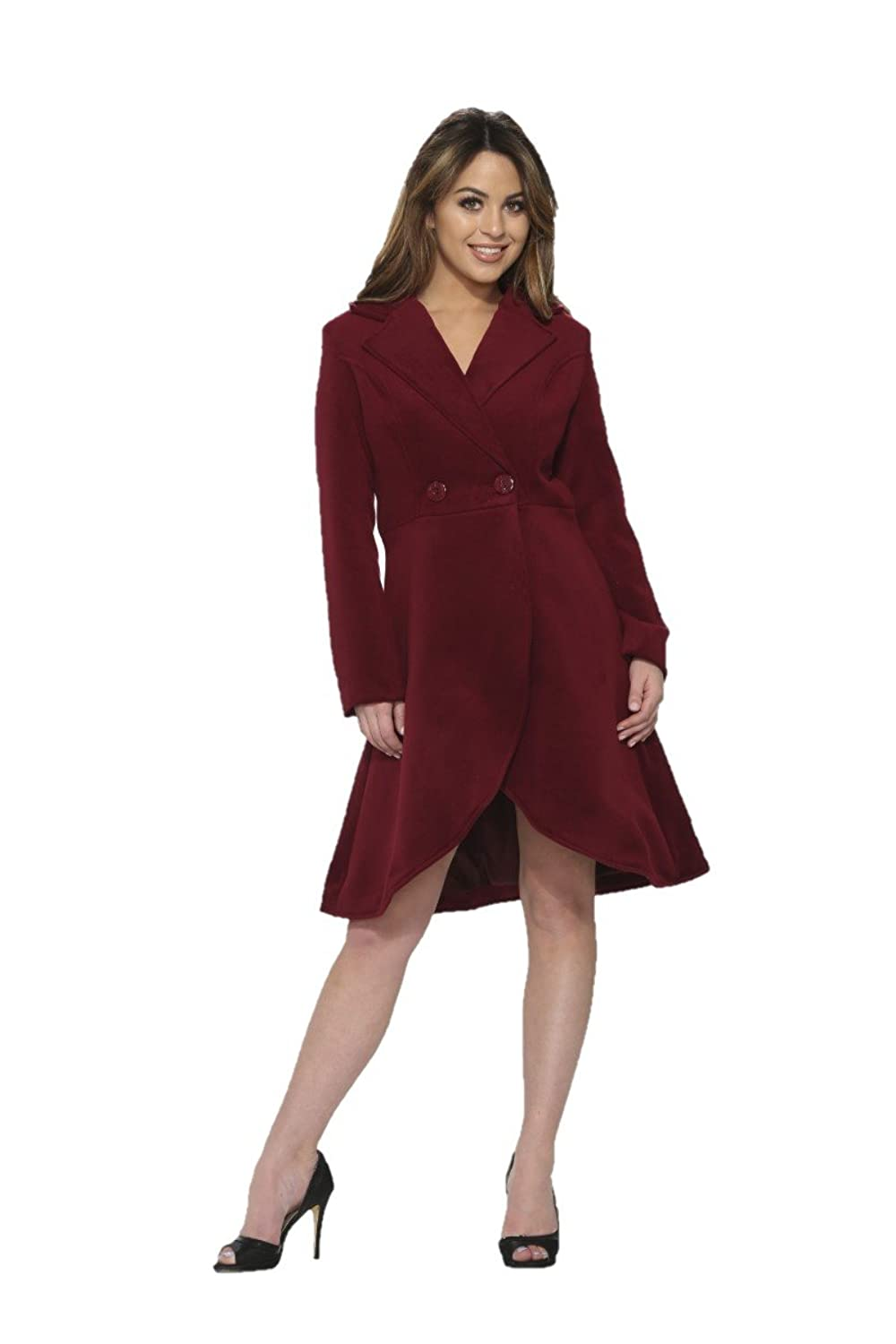 1950s Jackets, Coats, Bolero | Swing, Pin Up, Rockabilly Hearts & Roses Katherine Coat in Burgundy (Shipped from The US US Sizes) $64.88 AT vintagedancer.com