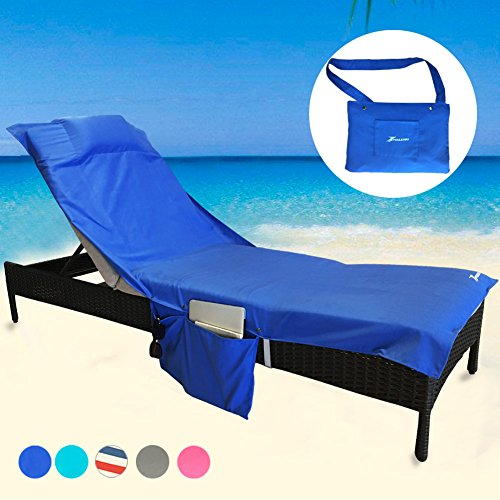 YOULERBU Beach Chair Cover, Chaise Lounge Chair Towel for Pool, Sun Lounger, Hotel, Vacation with Free Inflatable Pillow and Side Pockets, 78