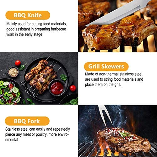 ZOSUO Barbecue D'Extérieur, Barbecue Accessoire Complet dans en Sac À Main, BBQ Outils Ustensiles, Ideal pour Jardin, Voyage Ou Camping [29 Pack]