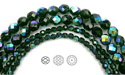 4mm (102 beads) Emerald AB, Czech Fire Polished Round Faceted Glass Beads, 16 inch strand