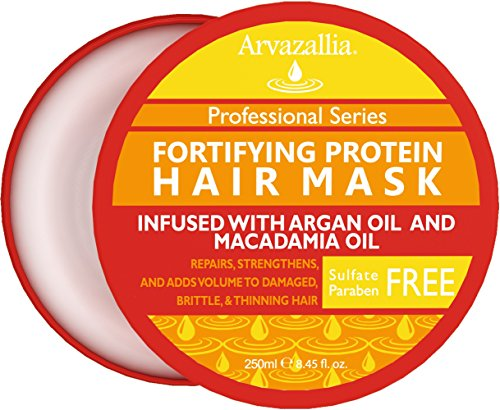 Fortifying Protein Hair Mask and Deep Conditioner with Argan Oil and Macadamia Oil By Arvazallia - Hair Repair Treatment for Damaged, Brittle, or Thinning Hair - Promotes Natural Hair ()