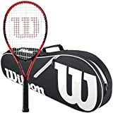 Wilson Federer Black/Red 2018 Strung Tennis Racquet Bundled with a Black/White Wilson Advantage II Tennis Racket Bag