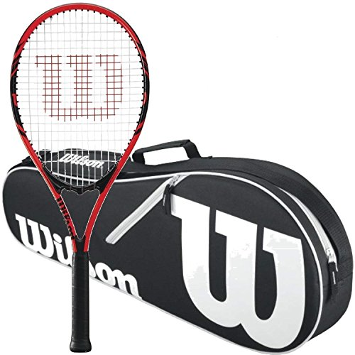 Wilson Federer Black/Red 2018 Strung Tennis Racquet Bundled with a Black/White Wilson Advantage II Tennis Racket Bag