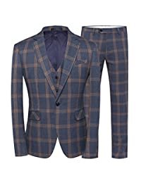 FOLOBE Mens 3-Pieces Suits Slim Fit Business Formal Blazer Pants and Vest