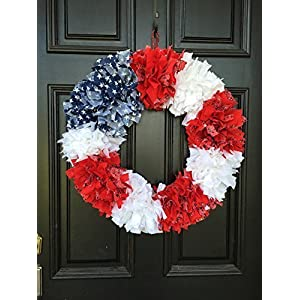 Patriotic American Flag replica rag tie fabric wreath 13
