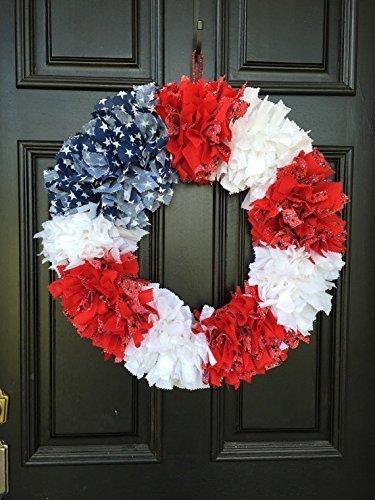 (Patriotic American Flag replica rag tie fabric)