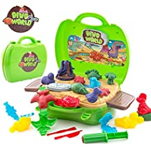 Deardeer Kids Play Dough Dinosaur Play Set 26 Pcs Pretend Play Toy Kit with Dough and Moulds in a Portable Case