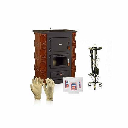Estufa de cerámica caldera de leña Prity, Modelo S3 W13 K, Salida de calor