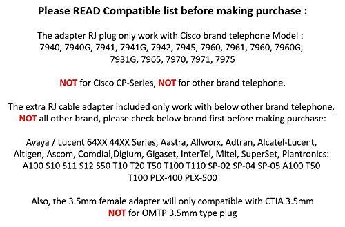 Cisco RJ Plug Headset Adapter Converter to 3 5mm CTIA Plug Apple iPhone  Ipad iPod Stereo Headset Headphones (Cisco Brand Telephone ONLY, NOT for  OMTP