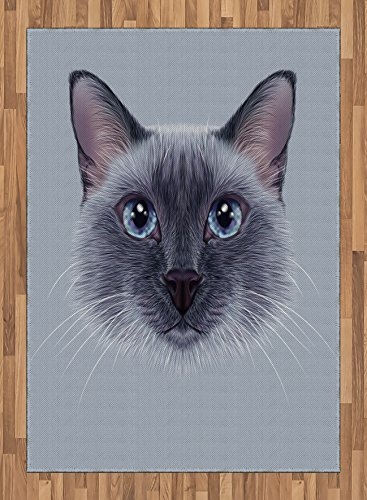 Animal Area Rug by Ambesonne, Portrait Image of Thai Siamese Cat with Retro Style Lettering Artwork, Flat Woven Accent Rug for Living Room Bedroom Dining Room, 5.2 x 7.5 FT, White Sky Blue and Grey by Ambesonne