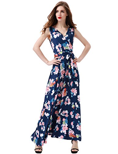 Aphratti Women's Bohemian Sleeveless V Neck Faux Wrap Long Maxi Dress Large Navy Floral (Dress Silk Floral Sleeveless)