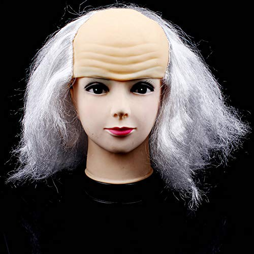 Halloween Bald Wig Head Mask Funny Old Men Wigs Masquerade Supplies Costume(White)