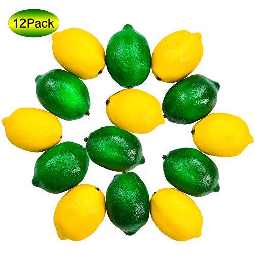 Woooow 12pcs Fake Lemon Artificial Fruits Lifelike Lemons Simulation Lemon Green and Yellow Lemon Mixed Set for Home Fruit Shop Supermarket Desk Office Or Props (Decorative Lemons)
