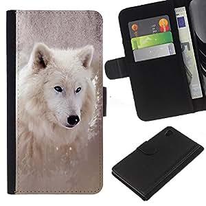 Sony Xperia Z4v / Sony Xperia Z4 / E6508 - Dibujo PU billetera de cuero Funda Case Caso de la piel de la bolsa protectora Para (Cool Winter Wolf)