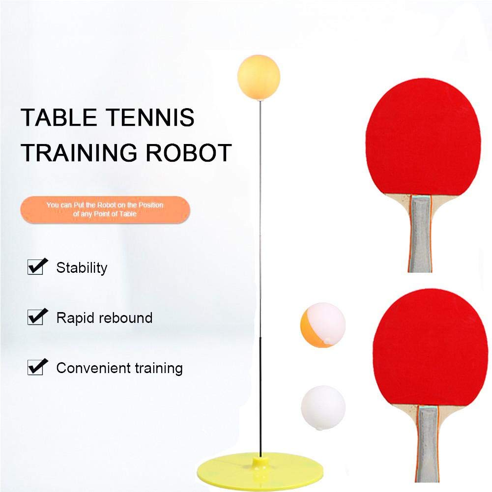 etateta Table Tennis Trainer with Elastic Soft Shaft, Leisure Decompression Sports 2 Table Tennis Paddle & 3 Ping Pong Balls, Set Table Tennis Trainer Indoor or Outdoor Play Useful by etateta