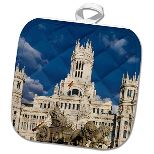 3dRose Cybele Palace in Madrid, Spain Potholder, 8 x 8'' by 3dRose
