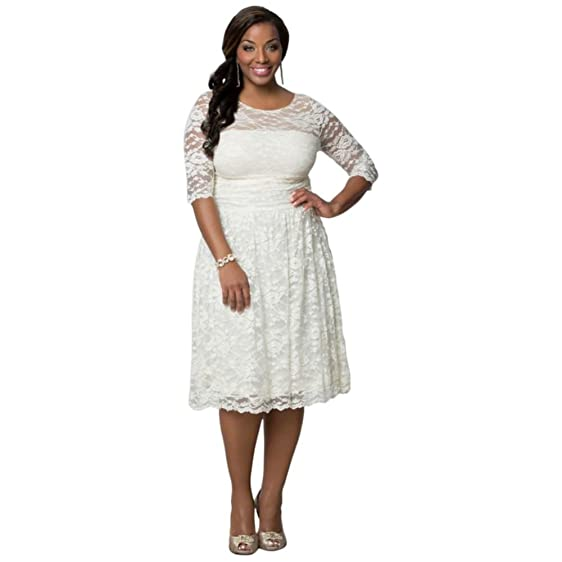 Aurora Lace Plus Size Short Wedding Dress Style 19130907 At Amazon