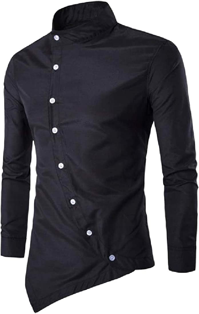 YUNY Mens Oversized Handkerchief Hem Pure Color Western Shirt Black L