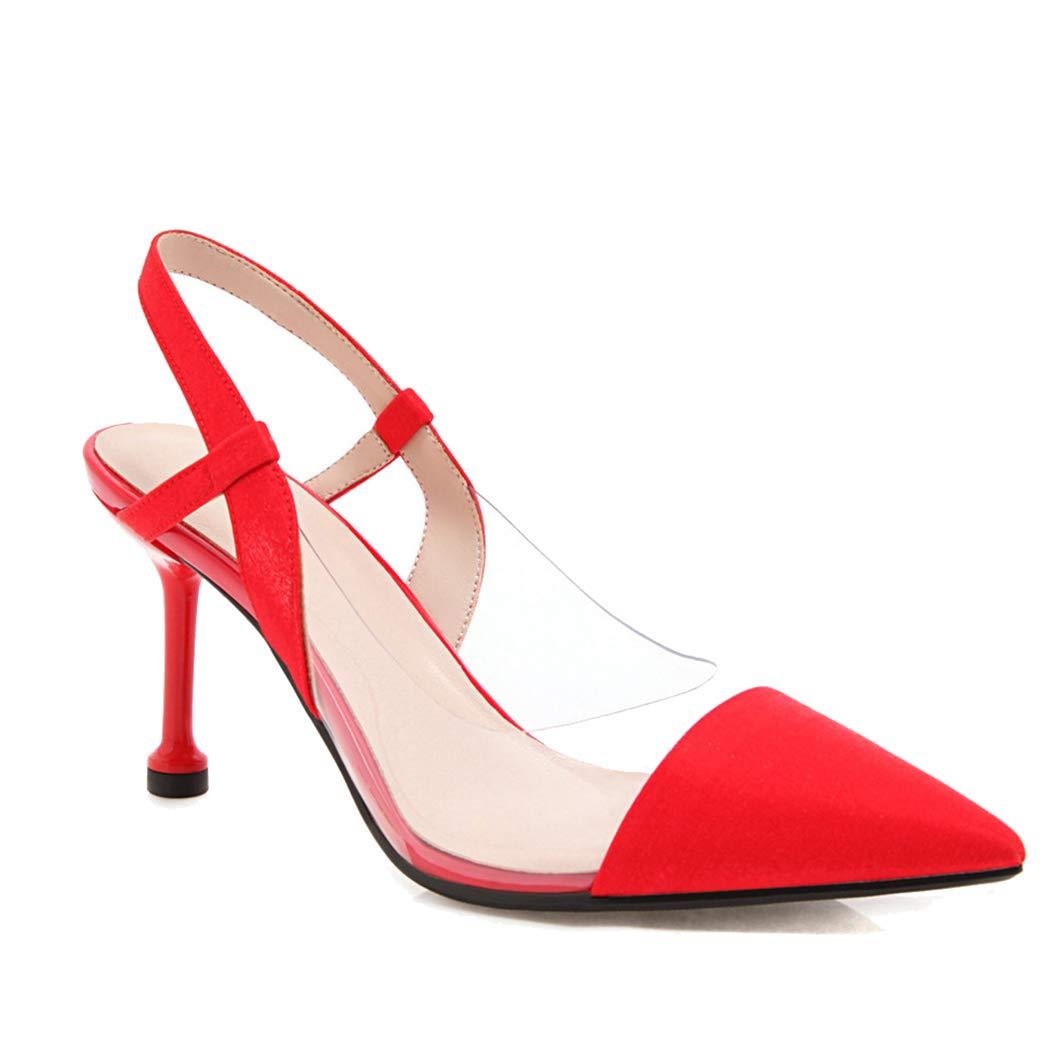 rouge ZYN-XX Sandales Eté Baotou Baotou Transparent Talons Hauts Talon Pointu Chat avec Baotou Fée Chaussures Manches Chaussures Paresseux  mieux acheter