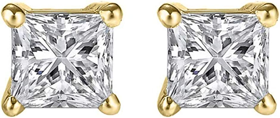 Details about  /2.35 ct Princess Cut Solitaire Pave Stud Earrings 14k Yellow Gold Screw Back