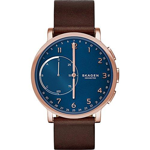 Skagen Hagen Stainless Steel and Leather Hybrid Smartwatch, Color: Rose Gold-Tone, Dark Brown (Skagen Designs)