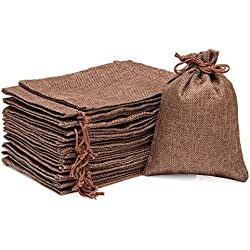 "ANPHSIN 30 Packs Burlap Bag with Drawstring - 7.1"" x 4.9"" Gift Bag Jewelry Pouches Sacks for Wedding Favors, Party, DIY Craft and Christmas- Coffee Brown"