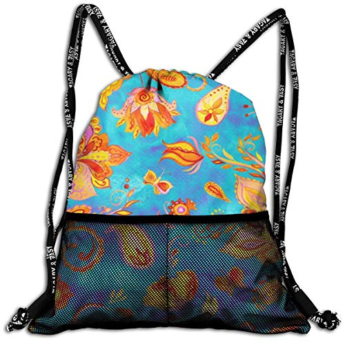 Taslilye Flowers Decoration Paisley Watercolor Indian Hand Drawn Elements Drawstring Backpack Front Zipper Mesh Bag Unisex For Travel Fitness