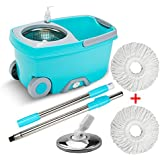 Easy Wring Spinning Mop - Deluxe 360° Stainless Steel Rotating Spin Mop Bucket System with 2 Microfiber Mop Heads Set and Scalability Pole, Indoor Kitchen Hard Floor Cleaning Tool (TB12S)