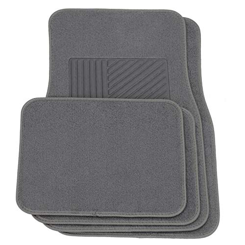 Motorup America Carpet Auto Floor Mat 4pc Set - Fits Select Vehicles Car Truck Van SUV/Gray
