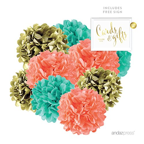 Andaz Press Hanging Tissue Paper Pom Poms Party Decor Trio Kit with Free Party Sign, Gold, Coral, Diamond Blue, 16-Pack, For Bridal Shower Decorations (Gold Coral)