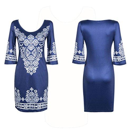 Amlaiworld Frauen Sommer-Kleid Print Patchwork kurze Maxi Party Kleider Blau