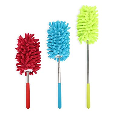 PrettyDate Microfiber Extendable Hand Dusters Washable Dusting Brush with Telescoping Pole for Cleaning Car, Computer, Air Conditioning, TVand Else Pack of 3