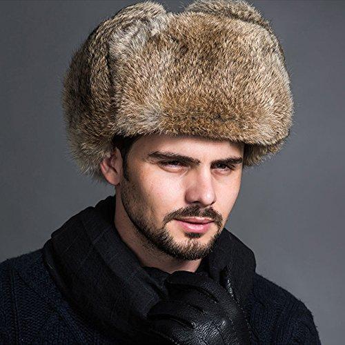 - OKOKMALL US--Mens Winter Bomber Pilot Cap Faux Fur Aviator Hat Ushanka Earflap Trapper Hat